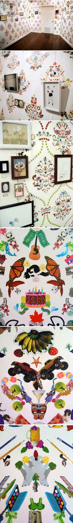 Sticker Wallpaper installations by Payton Turner & Brian Kaspr via The Jealous Curator// fantastic installation!