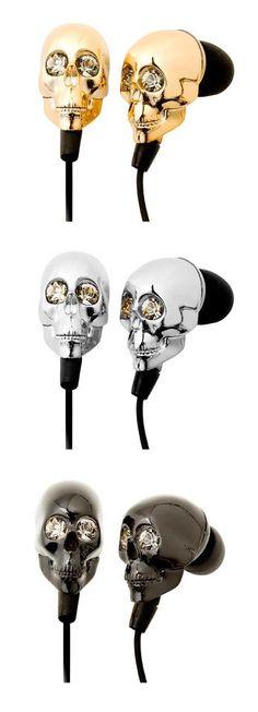 headphones. mobile phones, skulls, product, style, stuff, accessori, skull earbud, skull headphon, thing