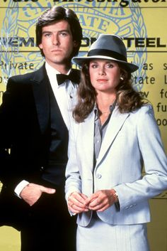 "Pierce Brosnan and Stephanie Zimbalist in ""Remington Steele"""