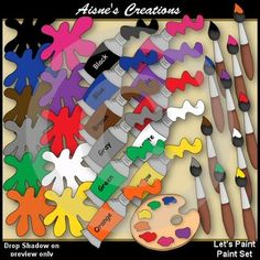 This pack contains:  1 palette  11 paint splats  11 paint tubes  11 paint brushes  14 digistamps