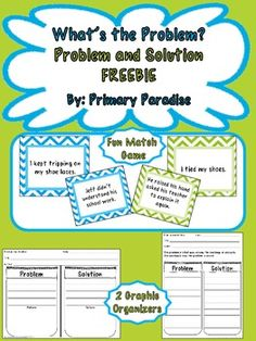 If you're teaching problem and solution to your elementary class, you'll love this freebie pack! It contains a problem and solution matching game and two graphic organizers! #FREE