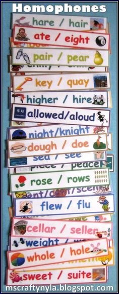 Lots and lots of homophones! Free Illustrated Homophone Word Cards, Homophone Activities and Lesson Plan, and some homophone TPT resources $.