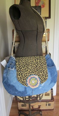 Jean Denim Ragged Gypsy Bag by PiecesPassed on Etsy, $40.00