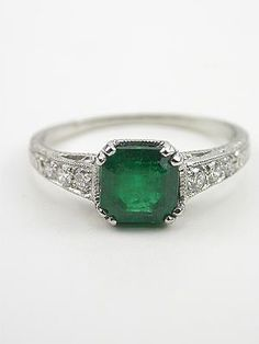 Edwardian Inspired Vintage Emerald Engagement Ring.  Let it be known, I am completely down with colored engagement rings. Especially something as pretty as this.