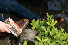 Journaling by a pond