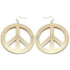 Gold Tone Circular Peace Sign Earrings