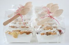 mini cherry almond crumb cakes.  such cute packaging.