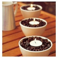 Home Tips / Coffee beans & tea lights. The warmth from the candles makes the coffee beans smell amazing.