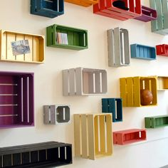 Colorful crates as shelves