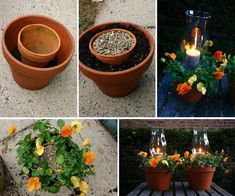 Beautiful, easy to do, combination of flowers and candles. This would be so pretty on a patio table.