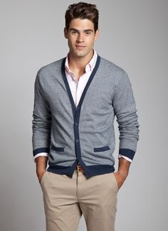 men styles, dress, business casual outfits, indigo stripe, cardigan