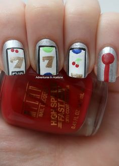 Slot Machine Nail Art!  Cute.  Do you think it might help me win?