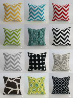 an assortment of fun throw pillows are a must for any bed, room, couch, floor, etc.