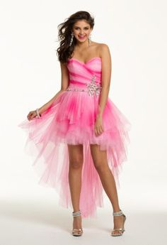 Prom Dresses 2013 - Short Strapless Mesh Tye Dye High-Low Dress from Camille La Vie and Group USA
