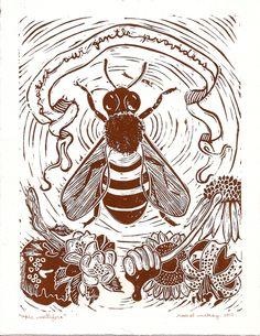 Apis Mellifera - Honeybee Linocut Print.. $30.00, via Etsy. rachel mckay
