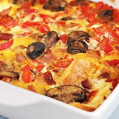 Make-Over Breakfast Sausage and Mushroom Strata