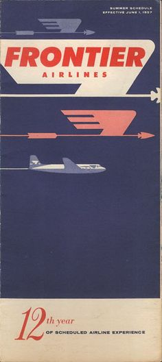 vintage airline timetable for Frontier Airlines