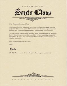 East Coast Mommy: Elf on the Shelf - Letter from Santa announcing his arrival