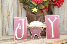 JOY letter blocks with baby jesus manger  vinyl by invinyl on Etsy, $13.50