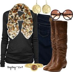 """Fall Brown & Black"" by taytay-268 ❤ liked on Polyvore"