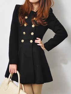 Double Breasted Ruffles Coat