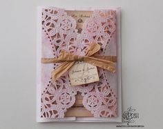 Pink Doily Wedding Invitation - Style 19 - Save the Date - Baby or Bridal Shower - Engagement Party. $3.50, via Etsy.
