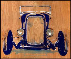 """1932 Ford Roadster.  22"""" x 28"""" acrylic on wood.  by Bernie Ramirez"""