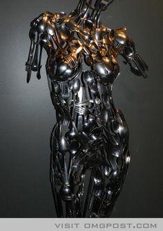 Incredible!!!  Metal Spoon and Fork Art - Woman Figure