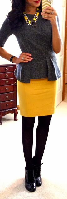 Bright and cheerful. . Yellow Pencil Skirt / Tweed Peplum Top/ Opaque tights black and black heels!