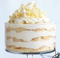 This looks amazing...white chocolate tiramisu trifle. Love white chocolate...yum!