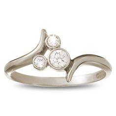 14 karat white gold diamond Mickey Mouse ring