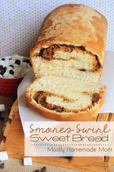 Smores Swirl Sweet Bread - A sweet yeast bread with a marshmallow, graham cracker, and chocolate smores swirl!