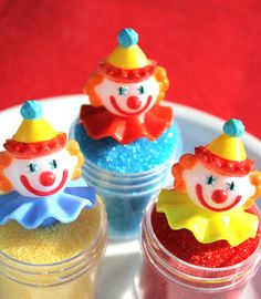 Clown cupcake picks https://www.etsy.com/listing/125063353/clown-party-cupcake-picks-circus-party