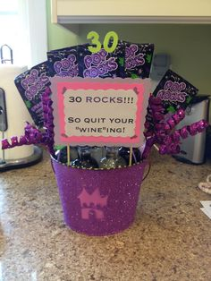 30th Birthday bucket. (hmm candy buckets for table centerpieces ...