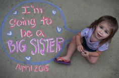 A 2nd pregnancy announcement idea using sidewalk chalk // Momista Beginnings