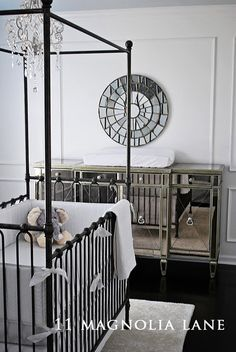 Nursery ideas - use my mirrored furniture with grey, white, and black