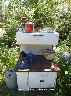 Old stove used as garden art