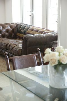 leather sofa with flag