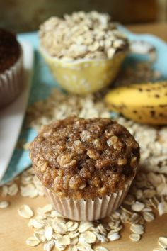 Banana Oat Muffins // from DelectableDarlings.com