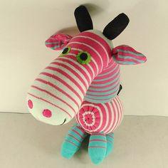 Pink Striped Sock Giraffe Stuffed Animal Doll Baby Toys #handmade #toys #toy #stuffed #stuffedtoys