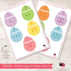 free Easter egg number match puzzles