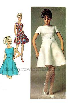 1960s MOD Collarless Dress Shaped Midriff by DesignRewindFashions, $12.00