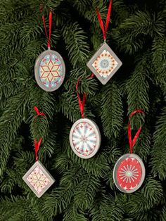 Stash wrapping paper scraps inside small metal frames to make festive ornaments that also look great atop presents!