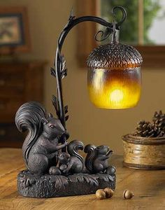 Squirrel Acorn Table Lamp