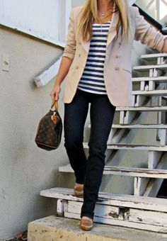 blazer, stripped shirt