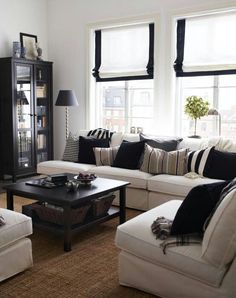 decor, white living, livingrooms, living rooms, couch, small living room, color, roman shades, live room