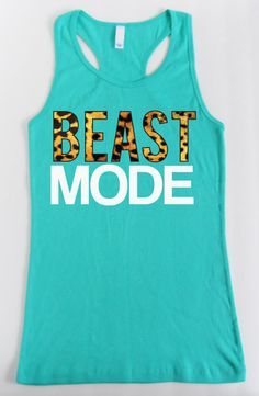 BEAST MODE Leopard on Teal Workout Tank Fitted, Workout Clothes, Motivational Workout Tank, Workout Shirt, Gym Tank, Gym Clothing, Crossfit