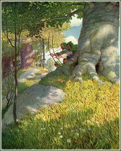 N. C. Wyeth - Robin Hood, Sherwood Forest, archers, adventure, illustration