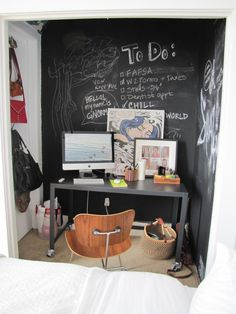 chalkboard walls at workspace