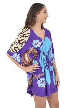 ISLAND STYLE CLOTHING Gorgeous Ladies Kaftan / Poncho Purple Shells Hibiscus Orchid Hand-Painted Luau Party Cruise Beach Dress Bikini Cover Up #kaftan #poncho #handpainted #beachcoverup #hibiscusdress #hand-painted #luaukaftan #beachwear #swimsuitcoverup #alohappy